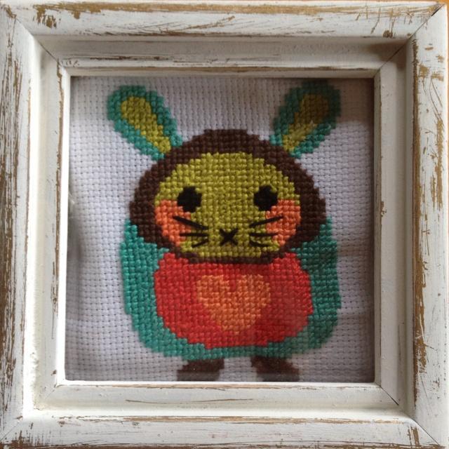 Cross-stitch bunny.