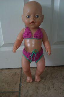 Lijuha Creaties: Patroon babyborn bikini gehaakt, crochet bikini swimsuitbabyborn