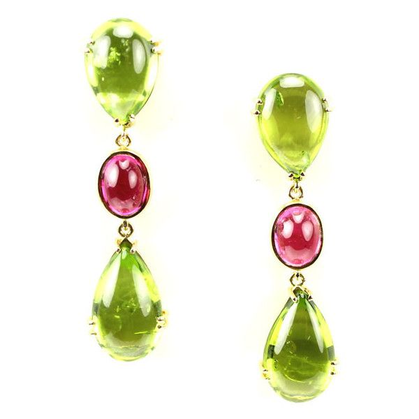 Gold : Peridot & Pink Tourmaline ❤ liked on Polyvore featuring jewelry, earrings, 18 karat gold earrings, peridot jewelry, gold earrings jewelry, peridot earrings and 18k gold earrings
