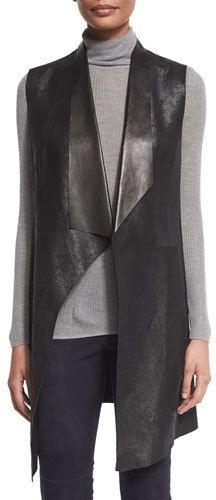 Elie Tahari Melissa Long Distressed Leather Vest