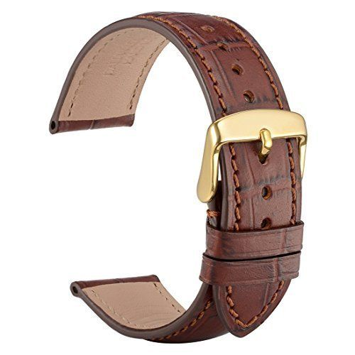62e4a1b1b WOCCI 18mm Alligator Embossed Leather Watch Band,Brown Replacement Strap  with Gold Buckle