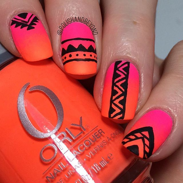 "Aztec print tribal nail art over neon gradient using @orlynails ""Beach Cruiser"" and ""Mayhem Mentality"", the tribal was done with acrylic paint #PolishAndBeyond"