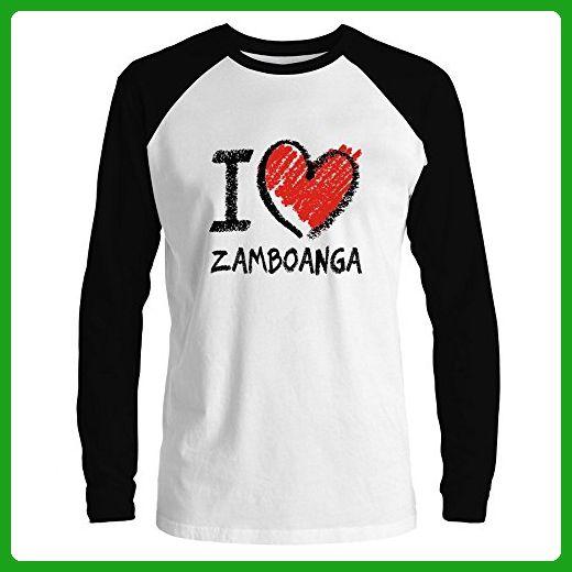 Idakoos - I love Zamboanga chalk style - Cities - Raglan Long Sleeve T-Shirt - Cities countries flags shirts (*Amazon Partner-Link)