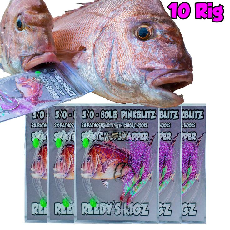 10 Snapper Rigs Paternoster Circle Hook 60lb 80lb Flasher Bait Rig Pre Tied Flys