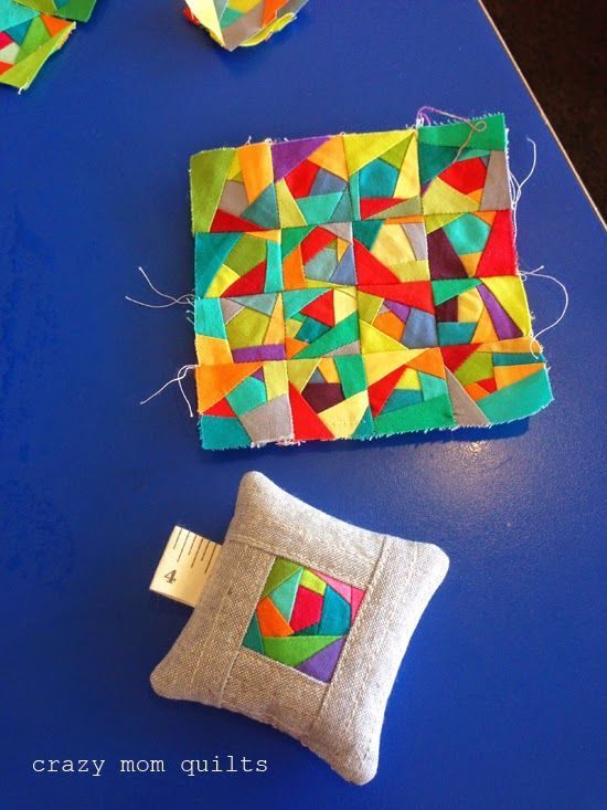 I love the idea of using scraps like this to make blocks. You can literally use any size of fabric! Now, that's what I call a scrap quilt.