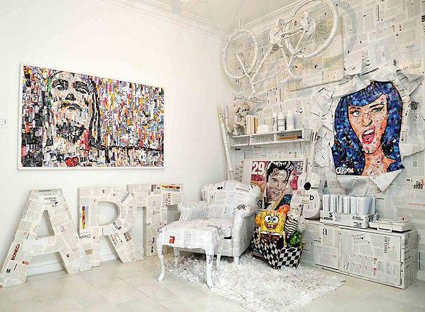 As obras do artista plástico estão em sua galeria, dentro do apê, e também estão nos outros ambientes da casa (Foto: Divulgação/Ari Kaye)