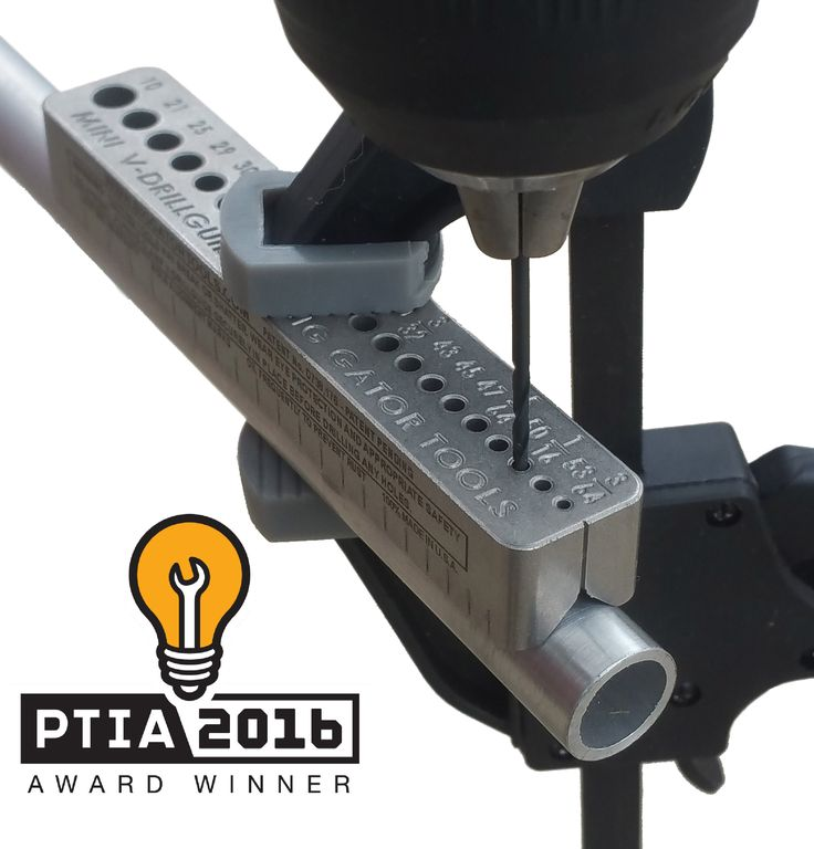 Drill straight holes every time without a drill press! This award winning drill guide is easy to use: hold the drill guide on material (wood, metal or plastic), clamp and drill! The MINI V-DrillGuide® has 21 holes. Lifetime Warranty. Made in the USA. #tools