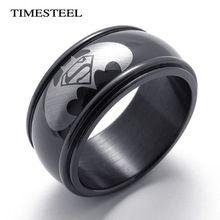 TSR074956 fashion cool zwart batman & superman ring voor mannen 10mm breed grote & grote 316l rvs heren sieraden(China (Mainland))