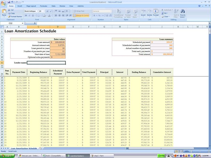 Ms Excel Loan Amortization Template Kubreforic