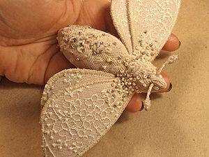 Текстильная брошь- мотылек | Ярмарка Мастеров - ручная работа, handmade