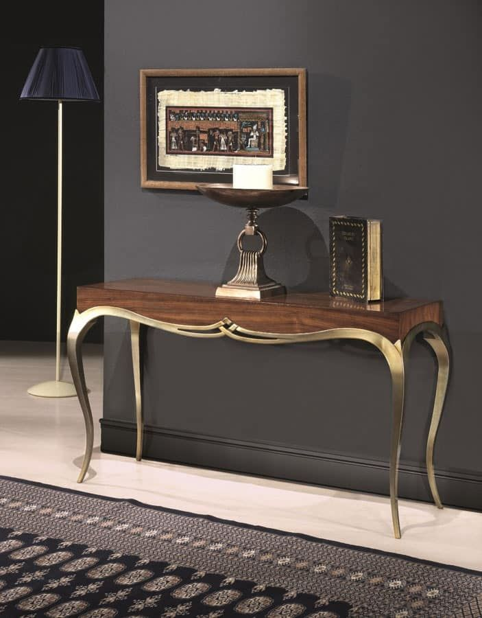 Console in solid wood, classic style, legs with golden finish