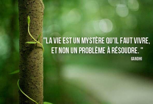 La vie est un mystère qu'il faut vivre, et non un problème à résoudre. Gandhi