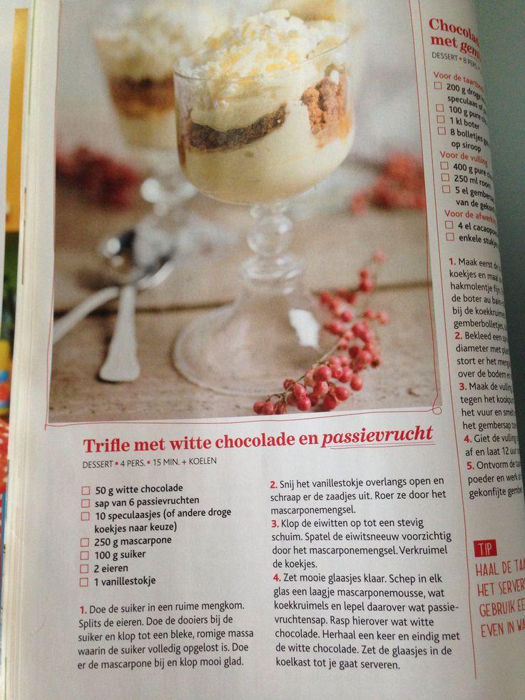 Trifle met witte chocolade en passievrucht