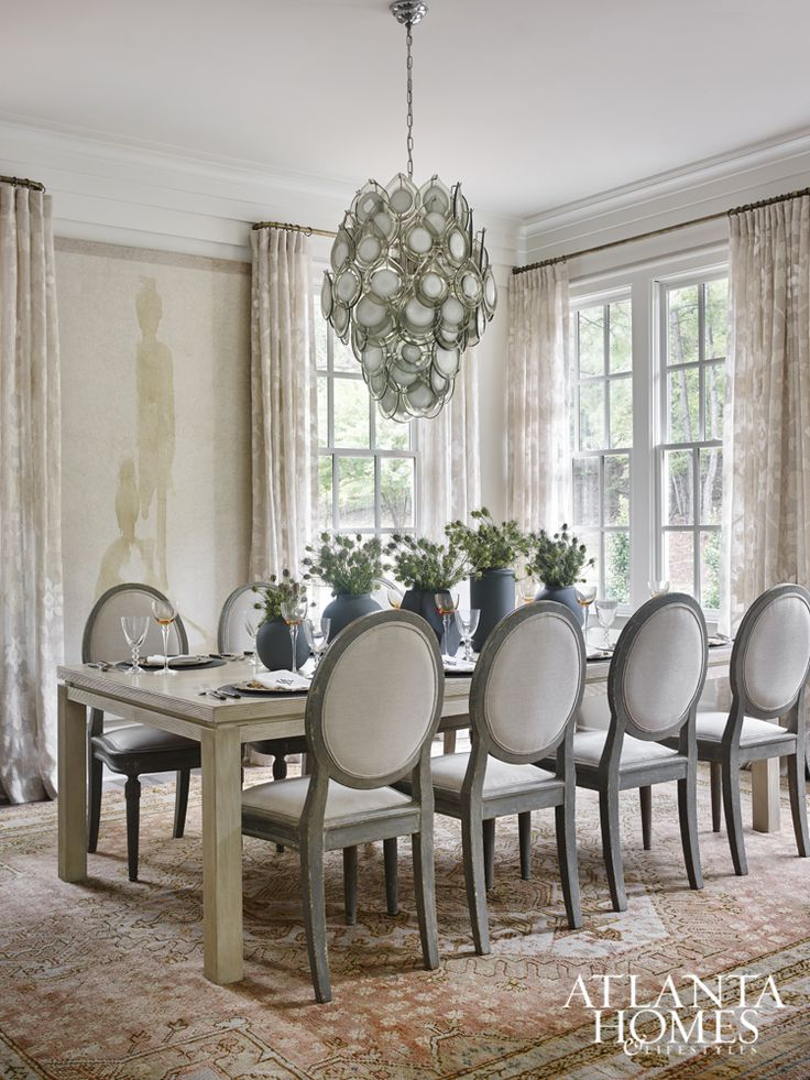 Morris Selected A Persimmon Oushak Rug To Anchor The Ribbed Dining Table And Antique Chairs