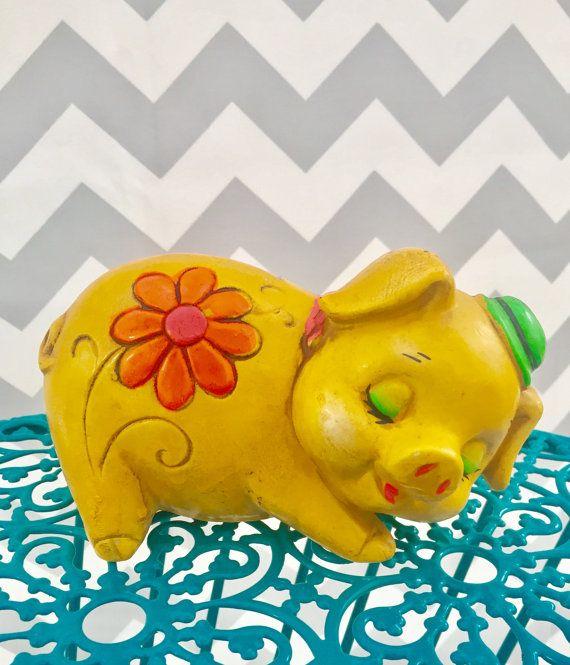 Vintage Mod Piggy Bank Yellow Floral Piggy by Mapleclovervintage