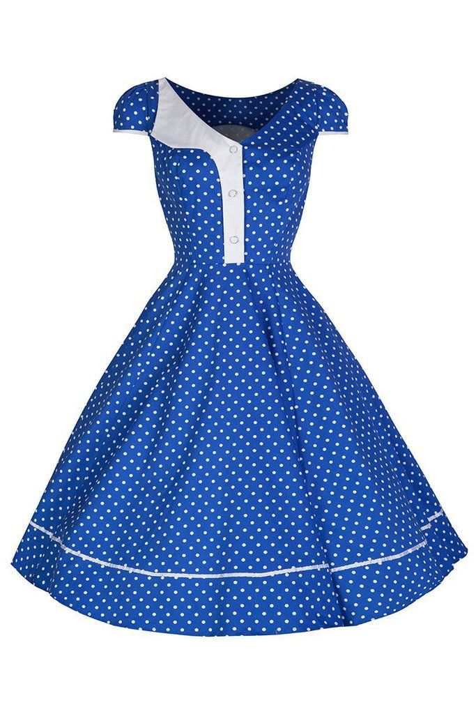 Blue and White Polka Dot Panel Swing Dress