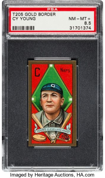 Baseball Cards:Singles (Pre-1930), 1911 T205 Gold Border Piedmont Cy Young PSA NM-MT+ 8.5....