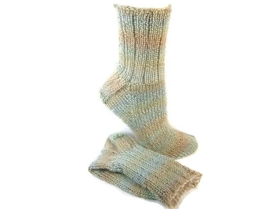 Socks Hand Knit Striped Adult Socks Super Soft Acrylic Hand Knit Handmade in Canada Size US 7 to 9 Medium Seamless Golf Socks #251 MEADOW