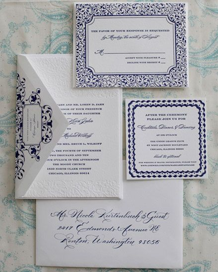 blue & white invites #wedding #love #stationery