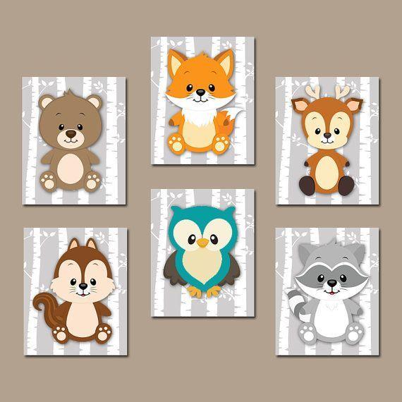 WOODLAND Nursery Wall Art, Woodland Nursery Decor, Canvas or Prints, Birch Wood Forest Animals, Deer Squirrel OWL Raccoon FOX, Set of 6