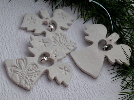 Christmas angel clay decoration White Xmas by FrivolousCrafts