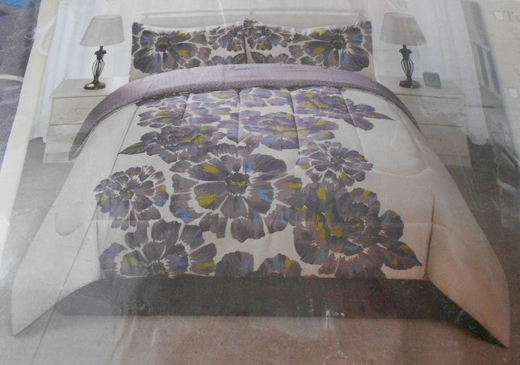 Casa Galarie King Size Comforter Set Purple Flowers on Gray Shams & Skirt #CasaGalarie #Cottage