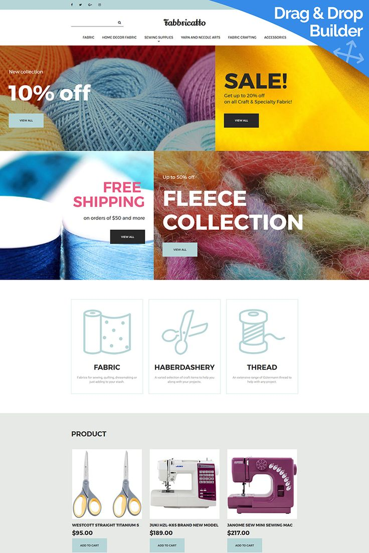 Fabricatto - Hobbies & Crafts MotoCMS Ecommerce Template #65068