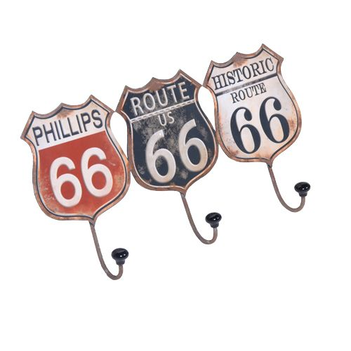 "Metal ""Route 66"" Industrial Chic Tin Sign/3 Hooks/Hanging Coat Rack/Storage"