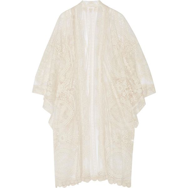 Anna Sui Crochet-trimmed embroidered tulle kimono jacket (£335) ❤ liked on Polyvore featuring outerwear, jackets, kimono, ivory, boho kimono, white kimono jacket, anna sui kimono, light weight jacket and embroidered jacket