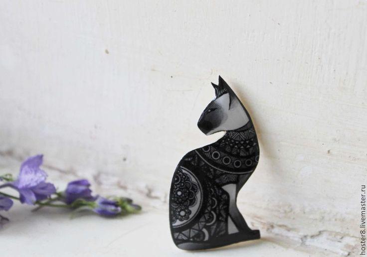 """Купить брошь """"Черная кошка Сфинкс"""" (0103) - черный, белый, Сфинкс, кот, кошка"""