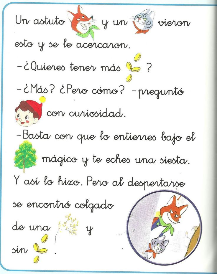 Cuento de Pinocho con pictogramas