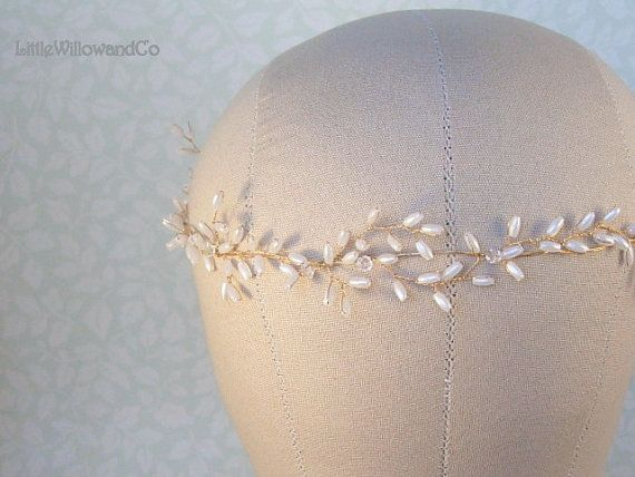 Laurel Bridal Halo Gold-Silver-Rose Gold. Wedding Hair Vine