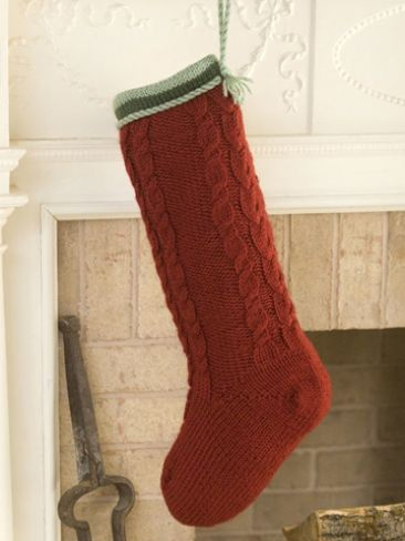 Cabled Christmas Stocking   Yarn   Free Knitting Patterns   Crochet Patterns   Yarnspirations