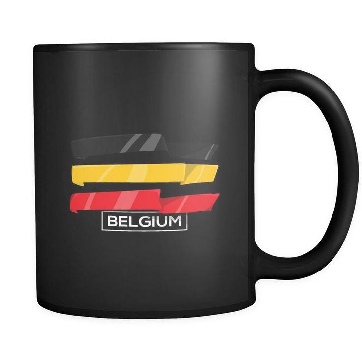 Belgian, Belgium Europe Patriotic Country Flag Black 11oz Mug