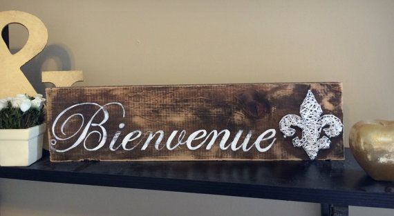 Bienvenue Sign, French Wooden Welcome Sign, Rustic Welcome Sign, Fleur De Lis String Art, Louisiana Decor, French Kitchen Decor, French Sign