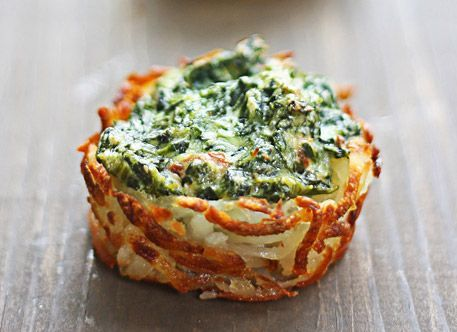Spinach and Goat Cheese Hash Brown Nests