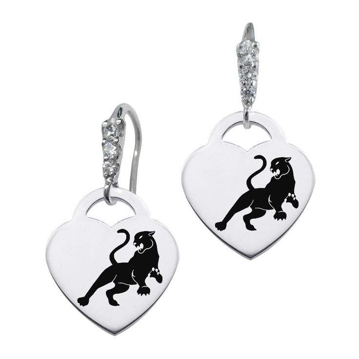 Sigma Lambda Gamma Symbol CZ Cluster Heart Earrings