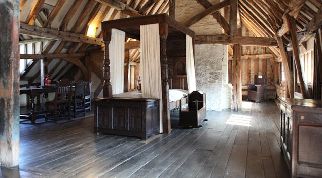 Anne of Cleves House - Sussex -authentically furnished kitchen and the garden which uses traditional plants and Tudor planting schemes