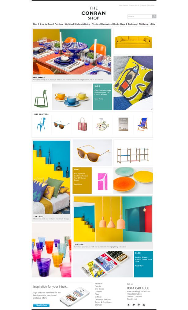 Got to love this highly colourful, #masonry style #ecommerce homepage #webdesign from 'The Conran Shop'