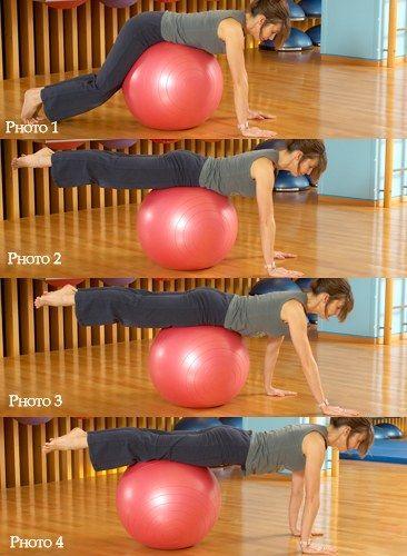 Exercice 3 : La brouette - Swissball, la gym avec ballon pour galber son corps, retrouver son équlibre - Position de départ : (photo 1 à 4). Posez votre ventre au centre du ballon, les deux mains en appui sur le sol. Levez les deux jambes à l'horizontal et déplacez-vous vers...