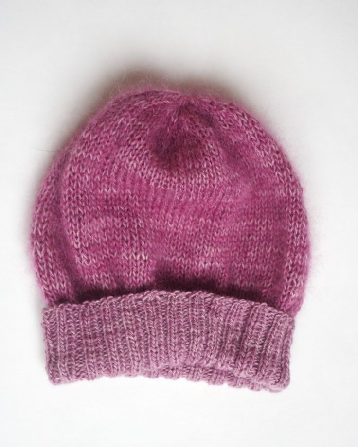 Project on Ravelry: capovak's Tiny Simple Pleasures Hat; made from Malabrigo Lace in Damask Rose and Rowan Kidsilk Haze in Blushes.