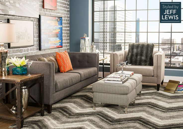 Living Spaces: Lofty Living Styled By Jeff Lewis   Love The Sofa, Armchair  And Ottoman | Living Room Design | Pinterest | Jeff Lewis, Living Styles  And ...