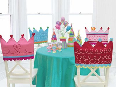 DIY Crown Chair Backs...What a great idea for a little girl's party! So cute!