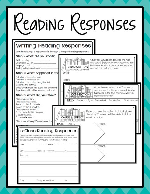 reading responses : for in-class and independent reading activities (Reading Portfolios- Part 3: Reading Responses - from mrsrojasteaches)