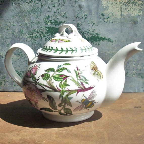 Portmeirion china teapot from Botanic Garden Series.   Beautiful detailed artwork combination of florals and insects. Marked Susan Williams Ellis 1972.