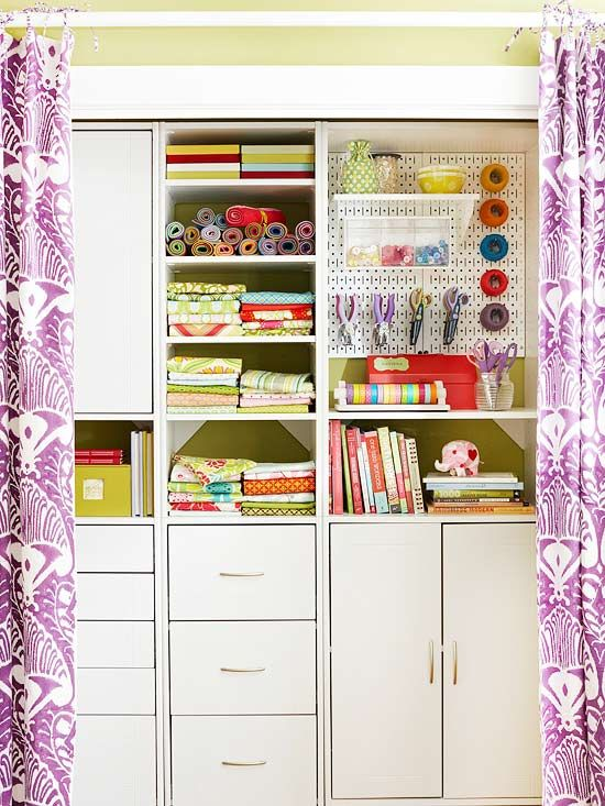 Room Inspiration: Use curtains to dress up a closet, and to keep all your supplies tucked out of sight.  Idea from Better Homes and Gardens  http://www.bhg.com/decorating/storage/craft-room/multitasking-dream-room-tour/#page=8