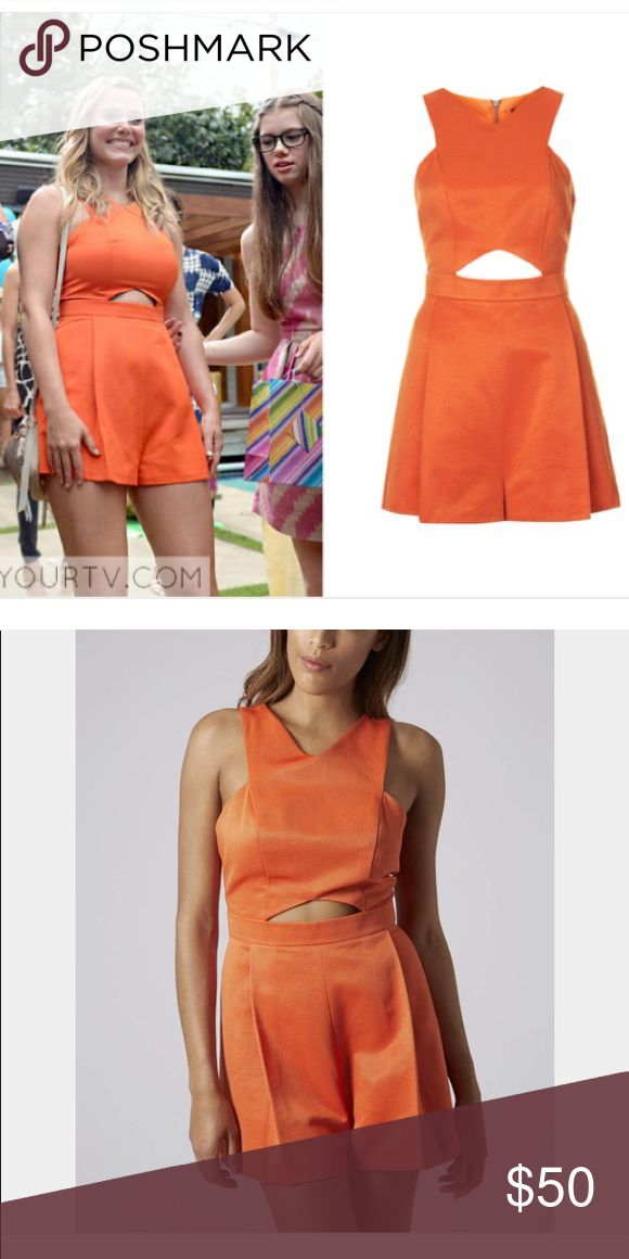 TopShop Cutout Orange Playsuit Romper Size 2 As seen on TV series Girlfirends Guide. This is the Topshop Cutout Playsuit Becca Wore. In pristine condition. Clean, no rips holes or stains. Women's size 2. Waist 25 inches. Length 29 inches. Bust 28 inches. Topshop Other