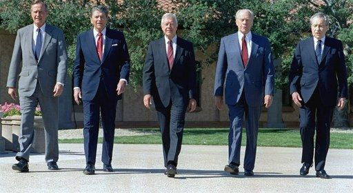 On November 2, 1991, George Bush, Ronald Reagan, Jimmy Carter, Gerald Ford and Richard Nixon were photographed together at the Reagan Library dedication.