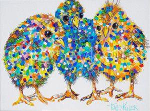 My 3 Chicks100cm x 40cm