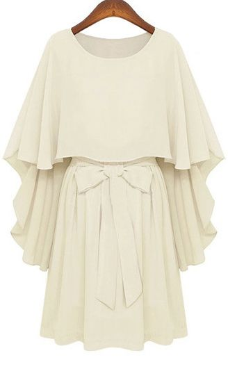 White Round Neck Bow Tie Waist Capes Top Chiffon Dress